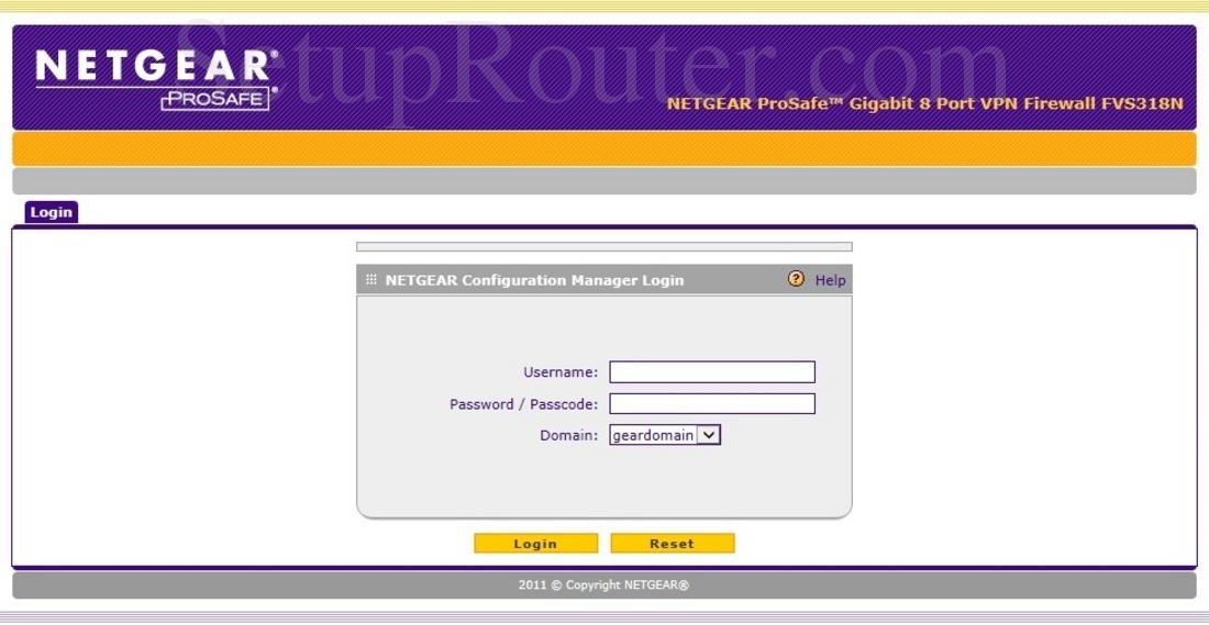 Netgear FVS318N Screenshot Login