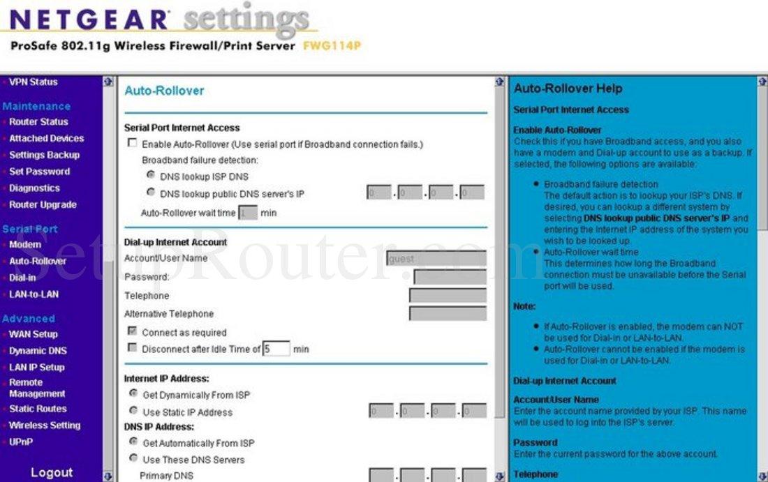 Netgear FWG114P Screenshot Auto-Rollover