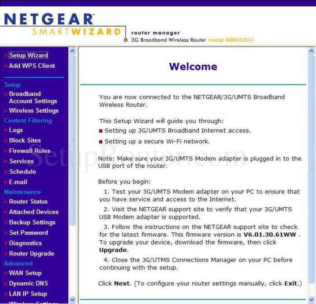 Netgear MBR624GU Screenshot Setup Wizard