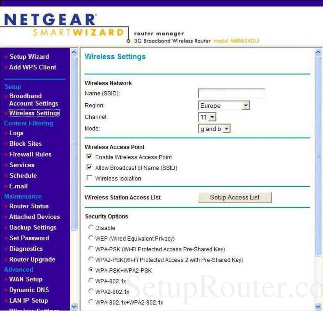 Netgear MBR624GU Screenshot Wireless Settings