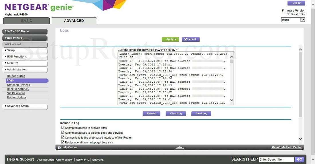 Netgear Nighthawk R6900 Screenshot Logs