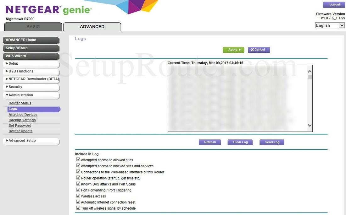 Netgear Nighthawk R7000 Screenshot Logs
