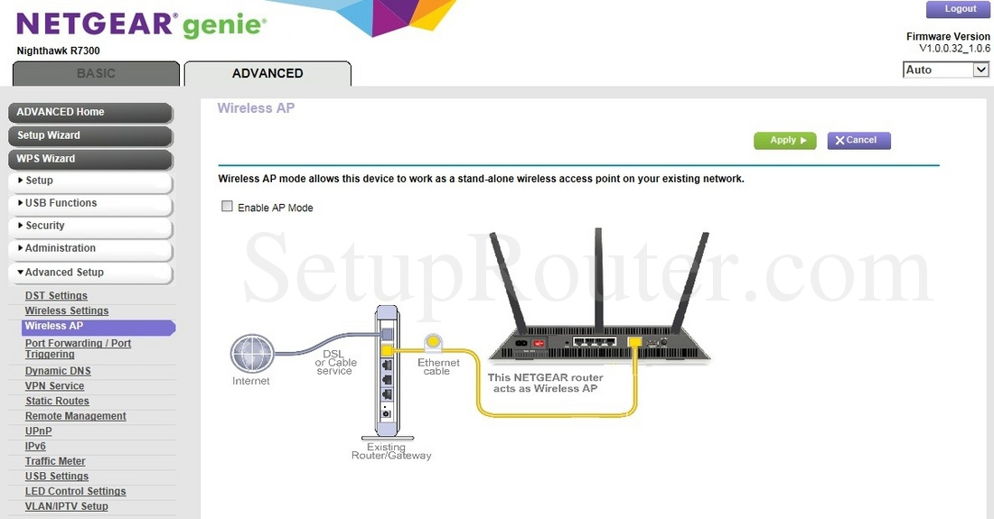 Netgear Nighthawk R7300 Screenshot WirelessAP
