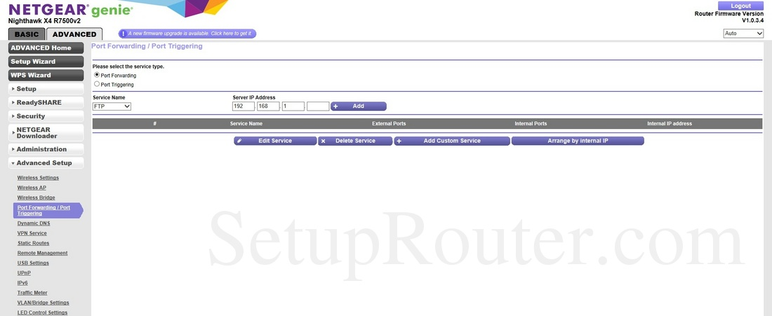 Netgear Nighthawk X4 R7500v2 Screenshot