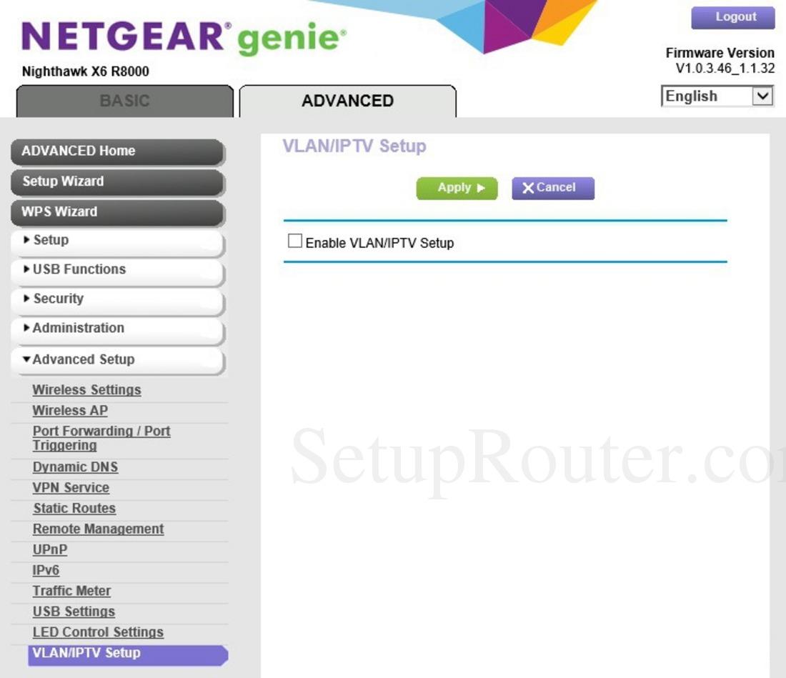 Netgear Nighthawk X6 R8000 Screenshot VLANandIPTVSetup