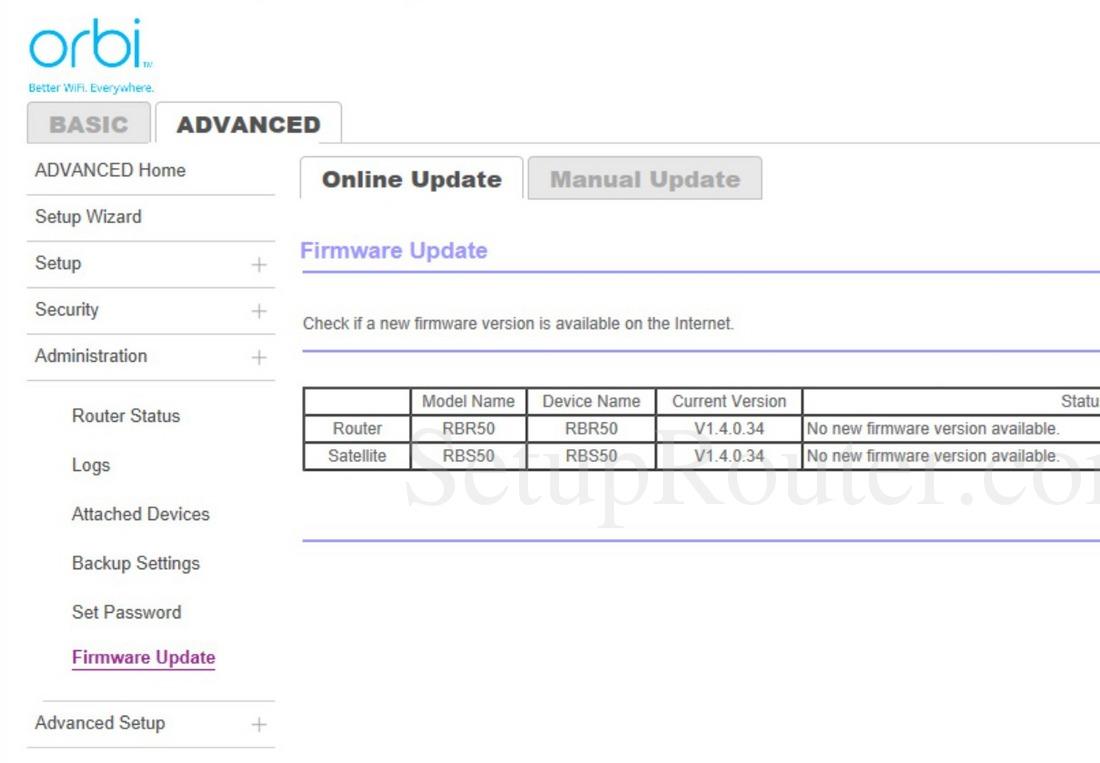 Netgear Orbi RBR50 Screenshot FirmwareUpdate