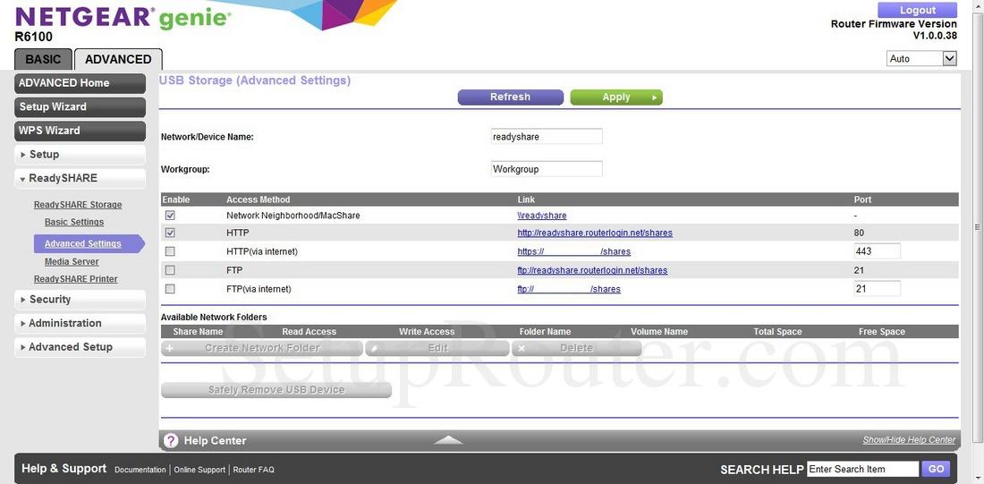 Netgear R6100 Screenshot USBStorageAdvancedSettings