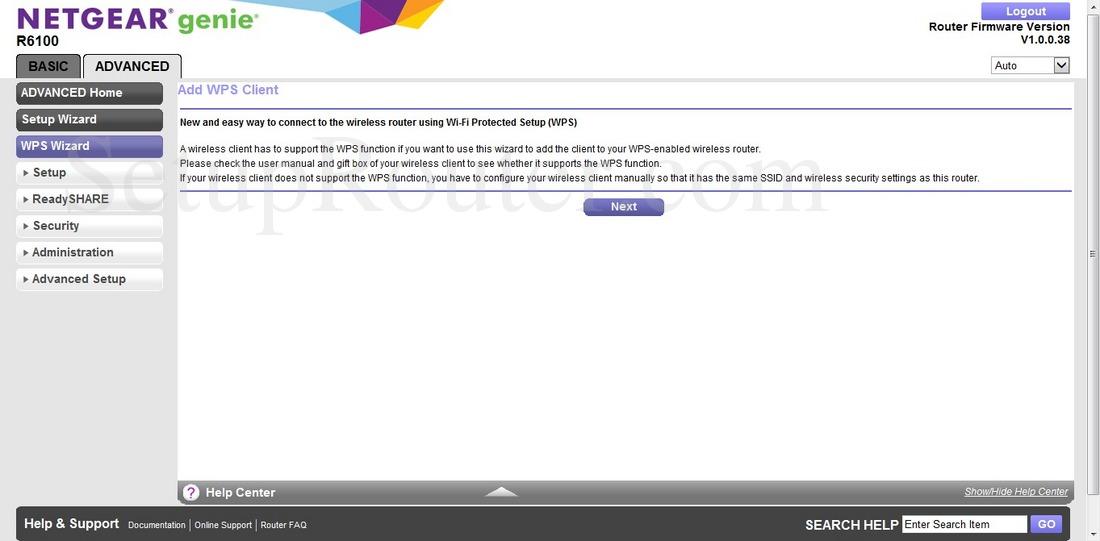 Netgear R6100 Screenshot WPSWizard