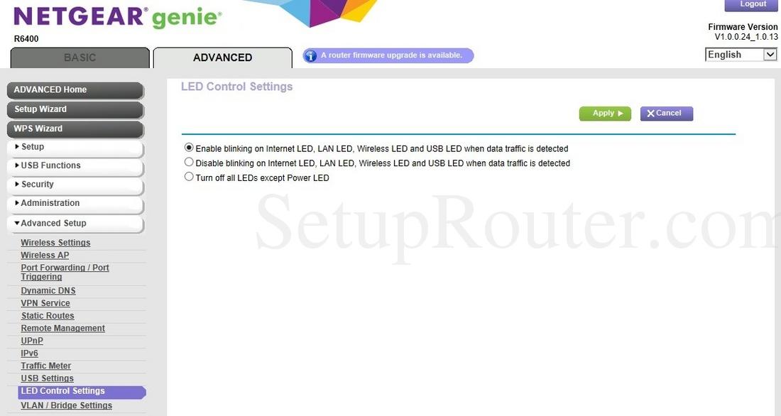 Netgear R6400 Screenshot LEDControlSettings