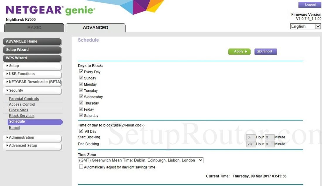 Netgear R7000 Screenshot Schedule