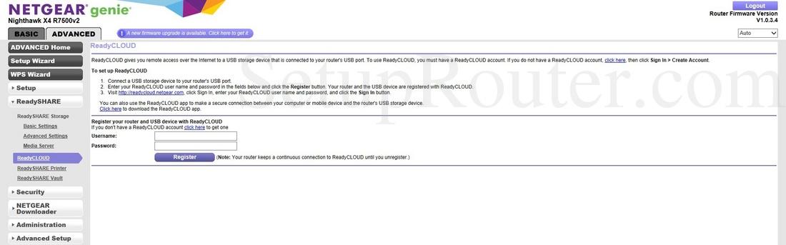 Netgear R7500v2 Screenshot ReadyCLOUD
