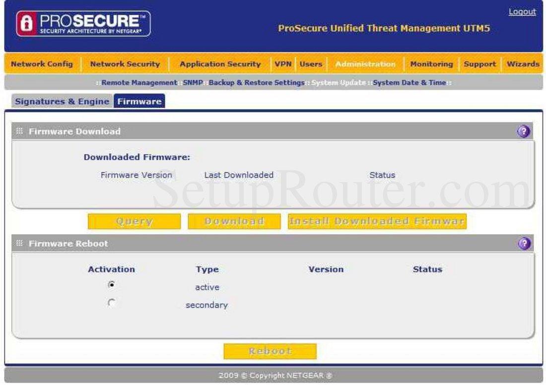 Netgear UTM5 Screenshot Firmware