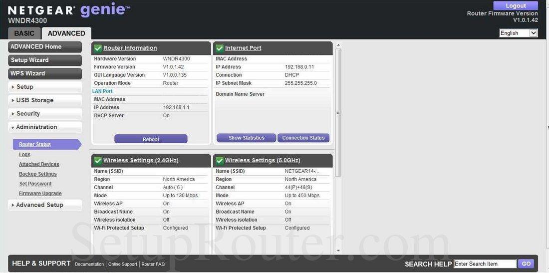 Netgear WNDR4300 Screenshot RouterStatus