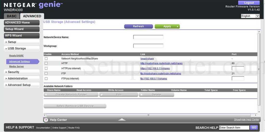 Netgear WNDR4300 Screenshot USBStorageAdvanced