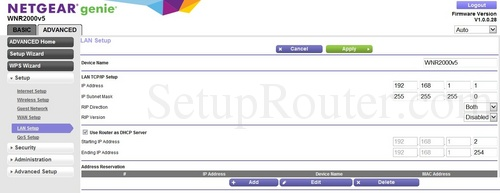 How to change the ip address of the Netgear WNR2000v5
