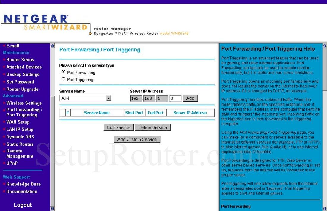 Netgear WNR834B Screenshot Port Forwarding