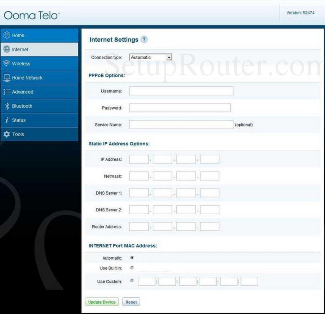 Ooma Telo Screenshot Internet Settings