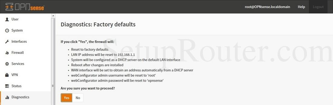 OPNsense 15-1-12-i386 Screenshot DiagnosticsFactoryDefaults