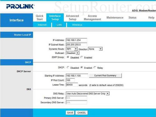 How to change the DNS settings on the Prolink H6300G