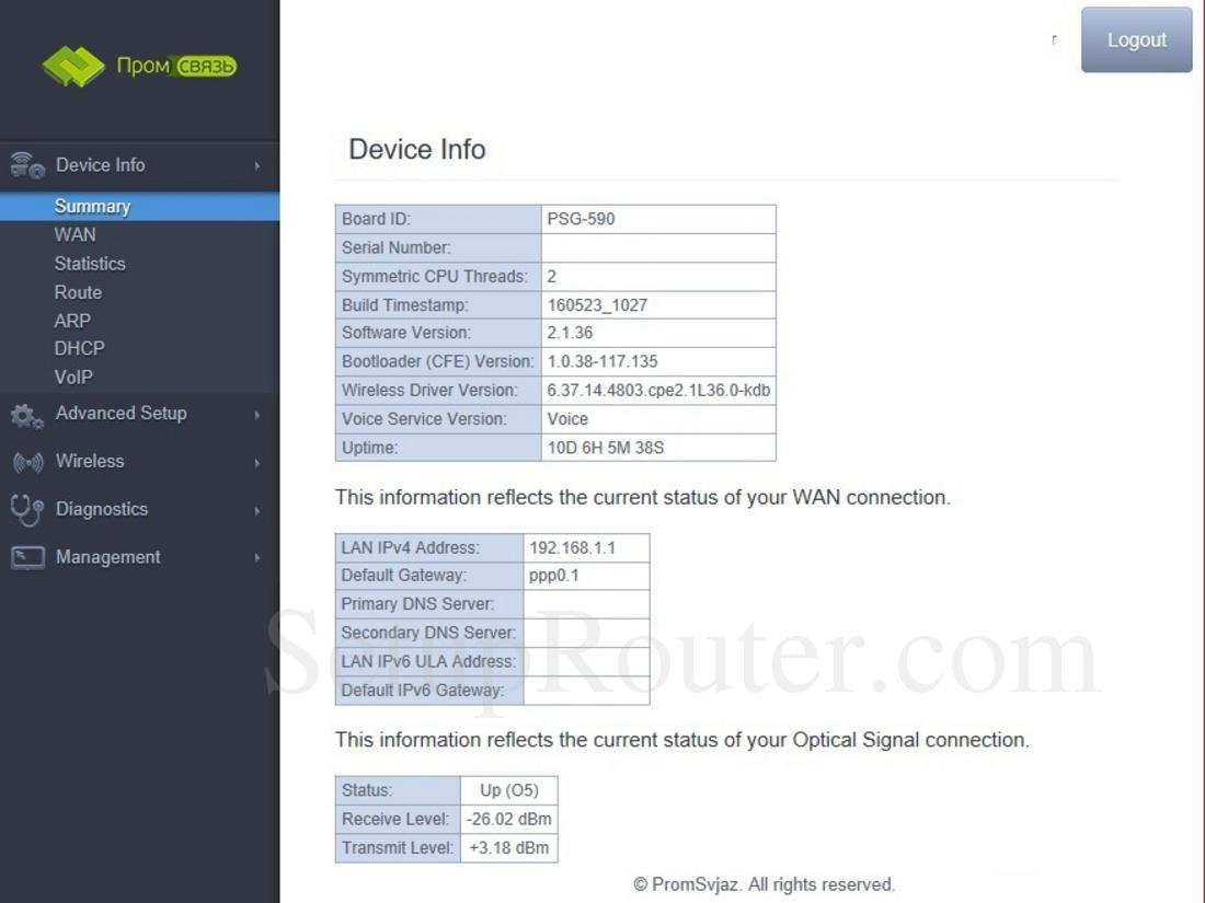 Promsvyaz PSG-590 Screenshot DeviceInfoSummary