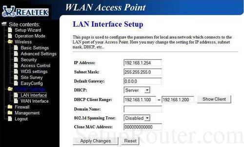 realtek router login