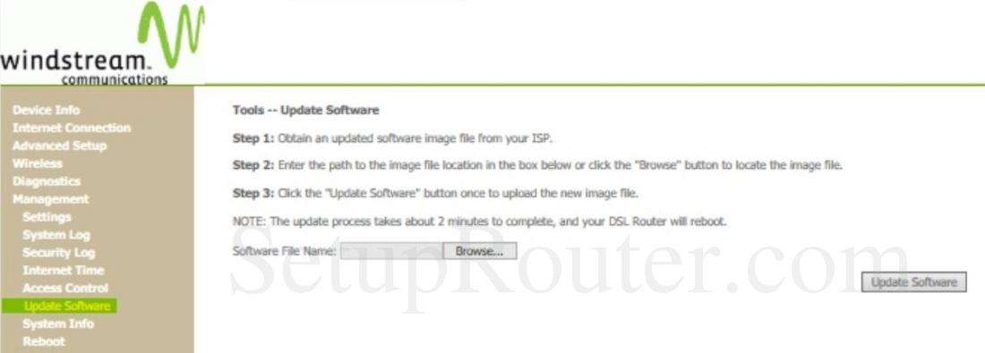 Sagemcom Fast 1704n Windstream Communications Screenshot UpdateSoftware