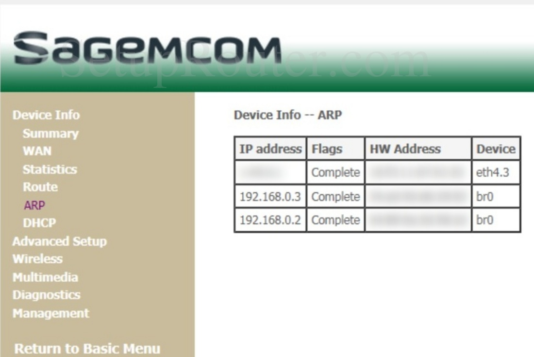 Sagemcom Fast 3864V2 Optus Screenshot ARPInfo