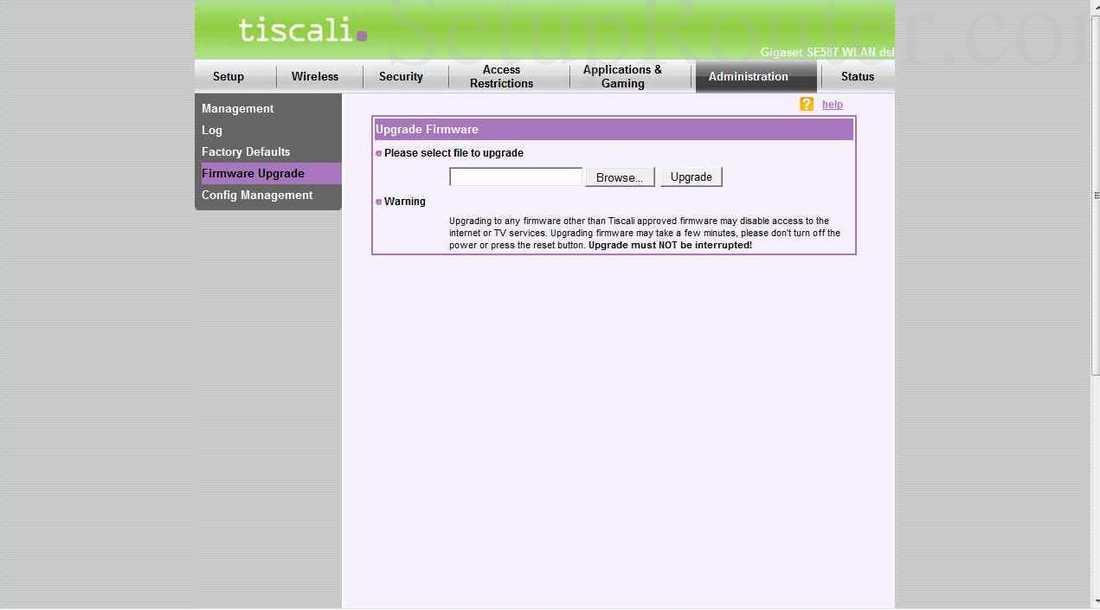 Siemens gigaset-se587 screenshot firmware upgrade.