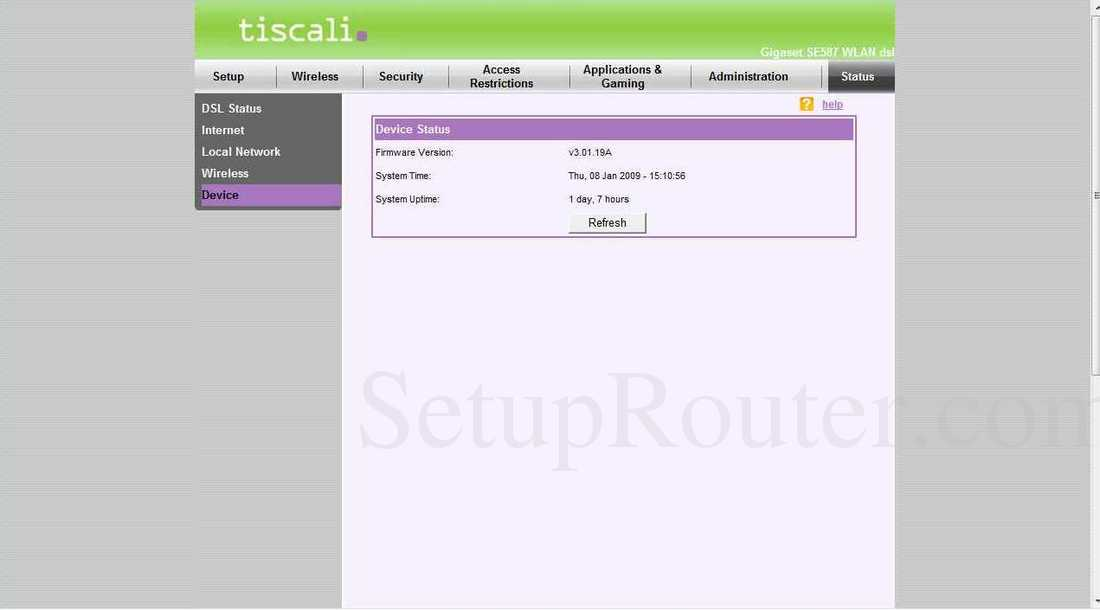 Siemens gigaset-se587 screenshot device status.