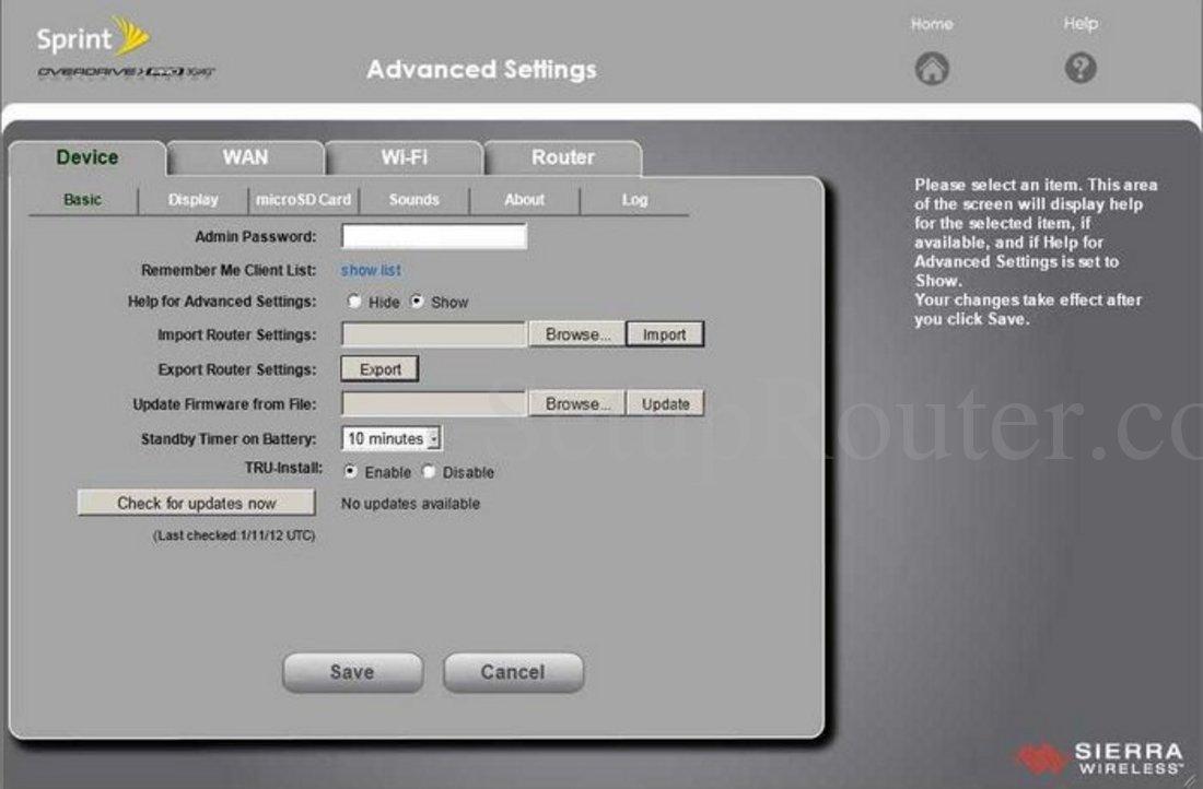 sierra wireless overdrive pro screenshot device basic rh setuprouter com Overdrive Pro Sign In Sierra Overdrive Pro Reset