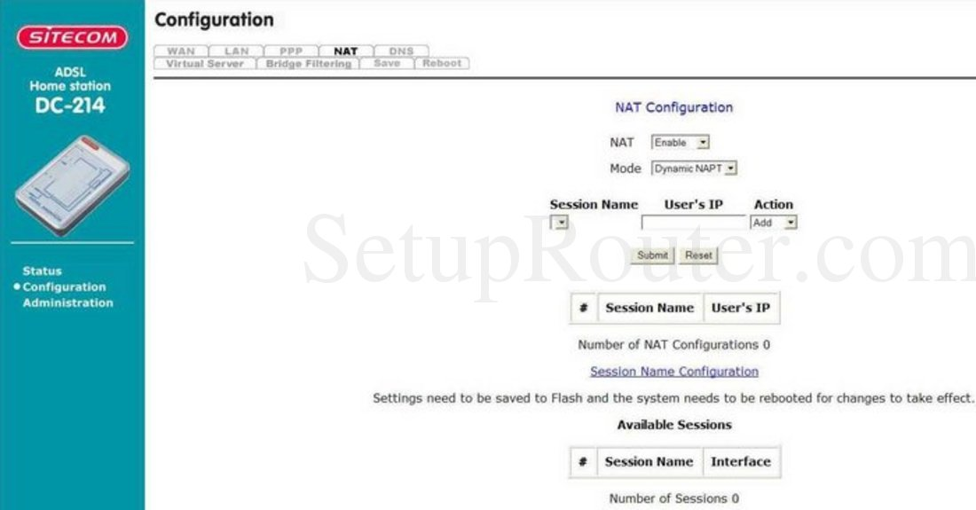 Sitecom DC-214 Screenshot NAT Configuration