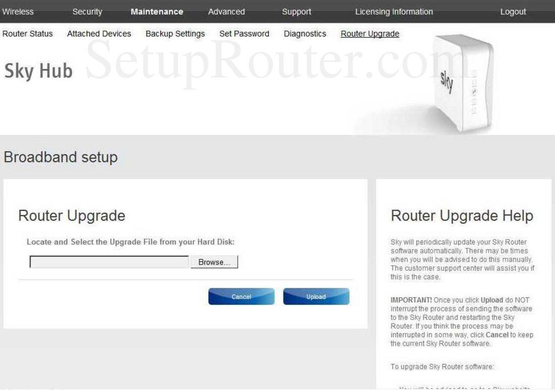 Sky SR101 Screenshot RouterUpgrade