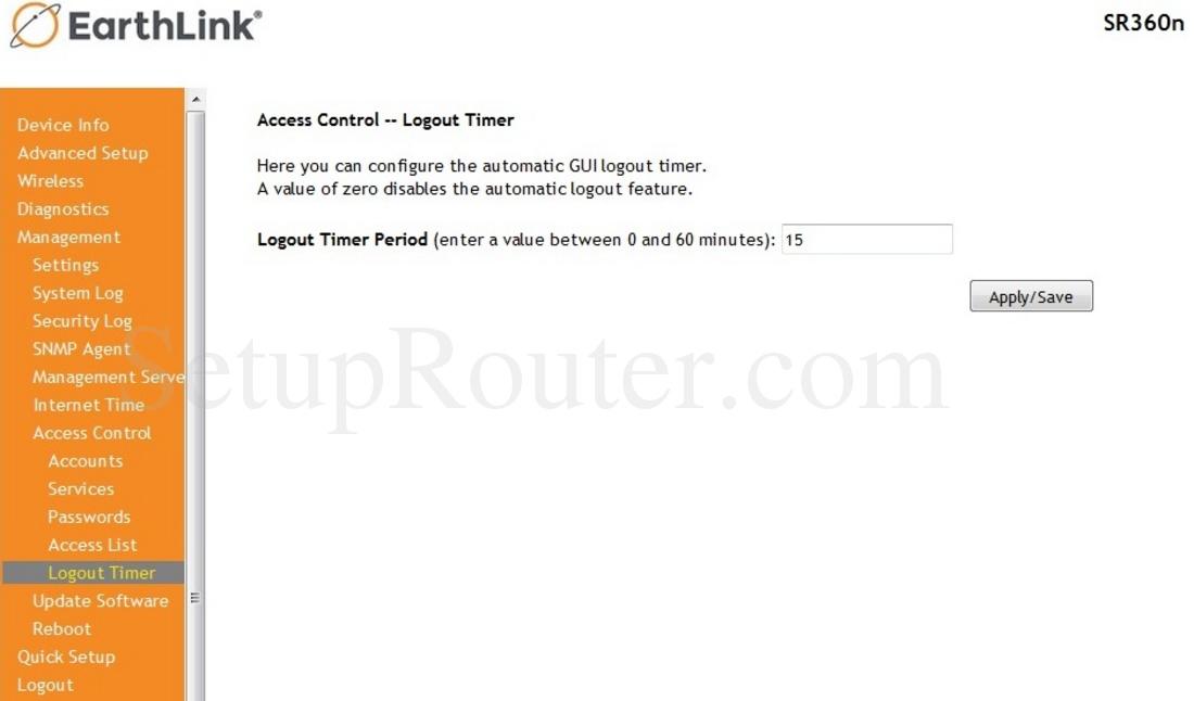 SmartRG SR360n EarthLink Screenshot LogoutTimer