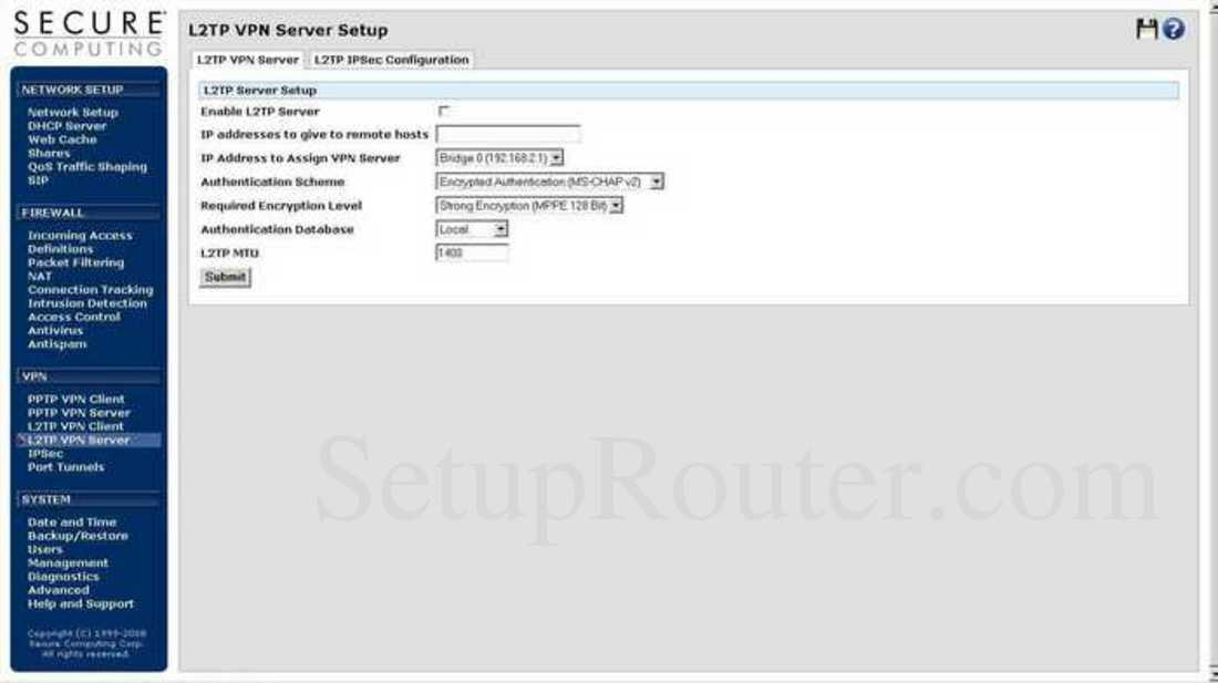 SnapGear SG565 Screenshot L2TP VPN Server