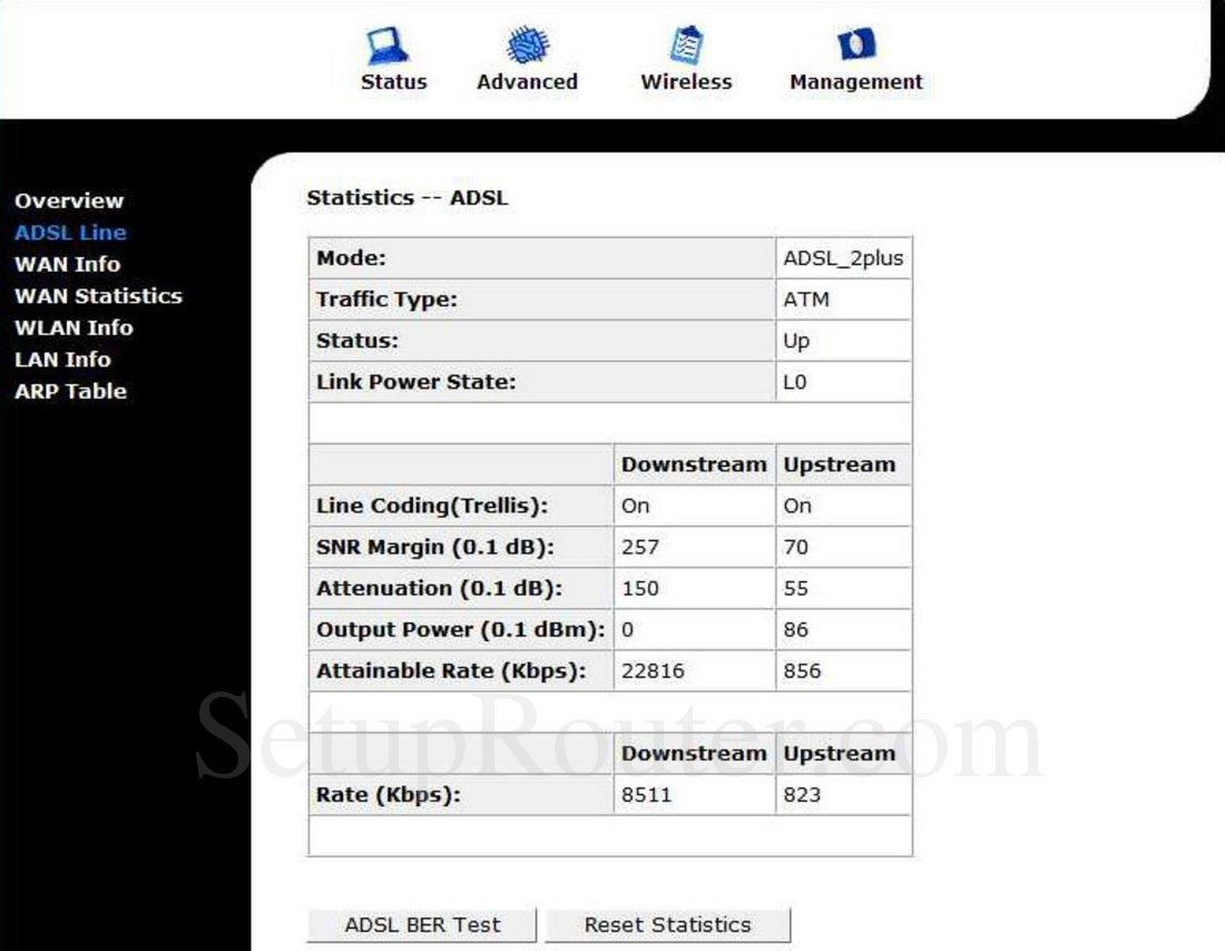 StarNet AR800 Screenshot ADSL Line Statistics