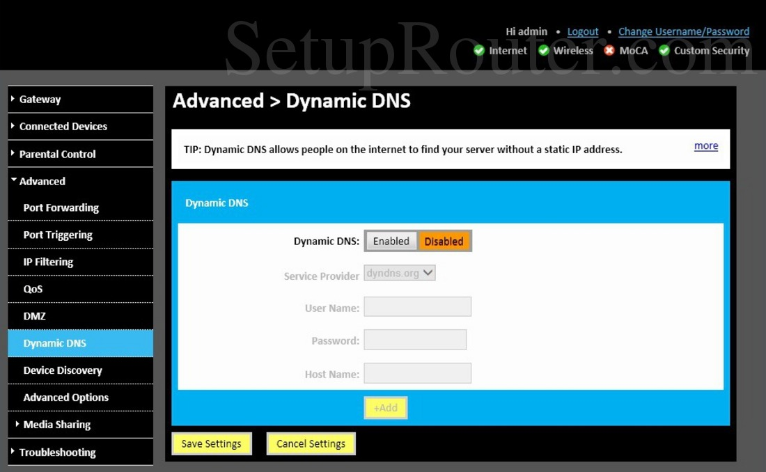 Technicolor TC8715D Screenshot DynamicDNS