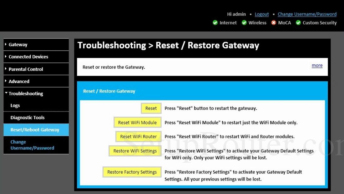 Technicolor TC8715D Screenshot ResetandRestoreGateway