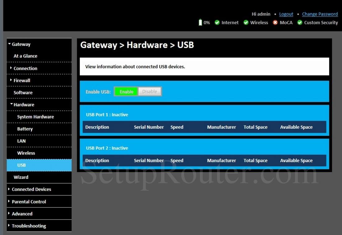 Technicolor TC8717T Screenshot USB
