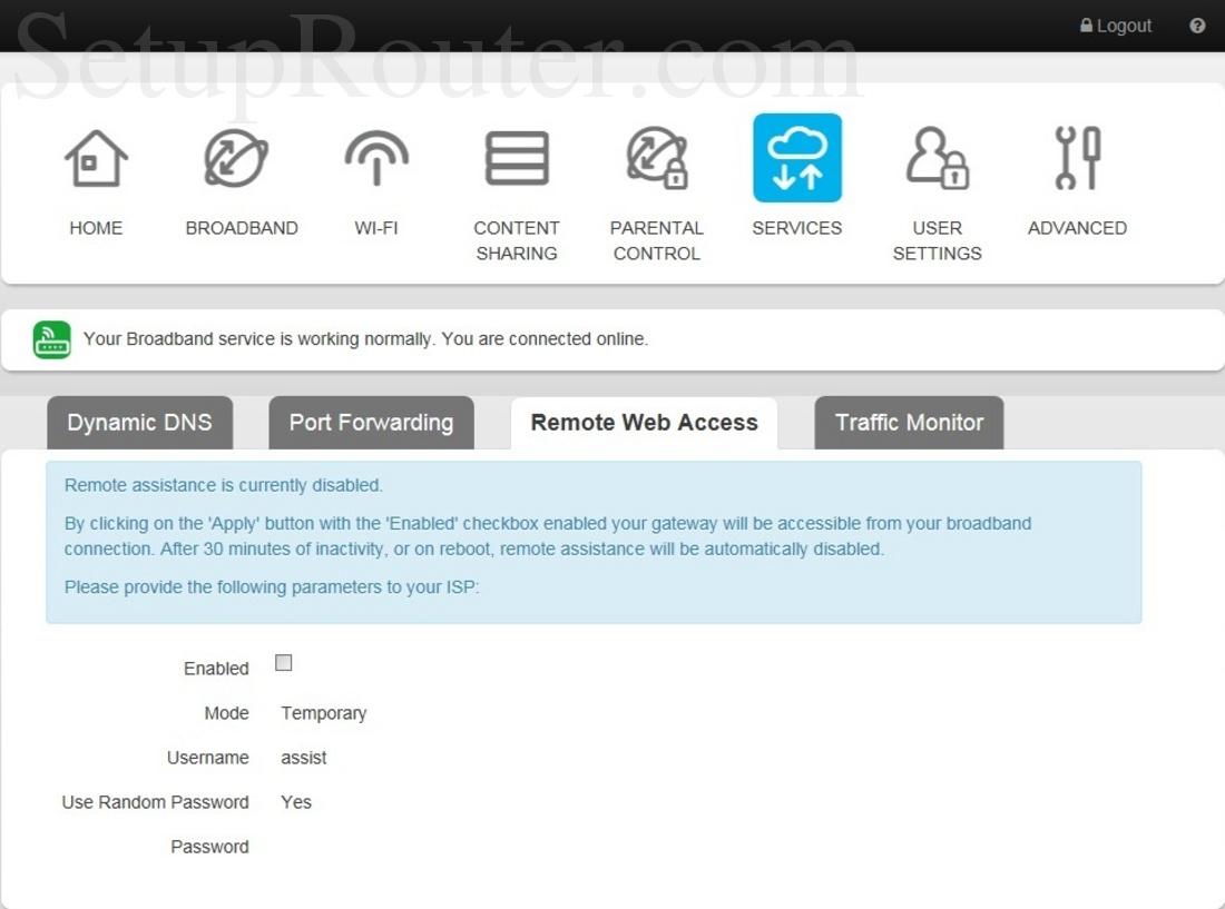 Technicolor TG799 Telstra Screenshot RemoteWebAccess