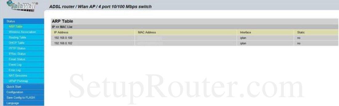 Telewell TW-EA1000 Screenshot ARP Table