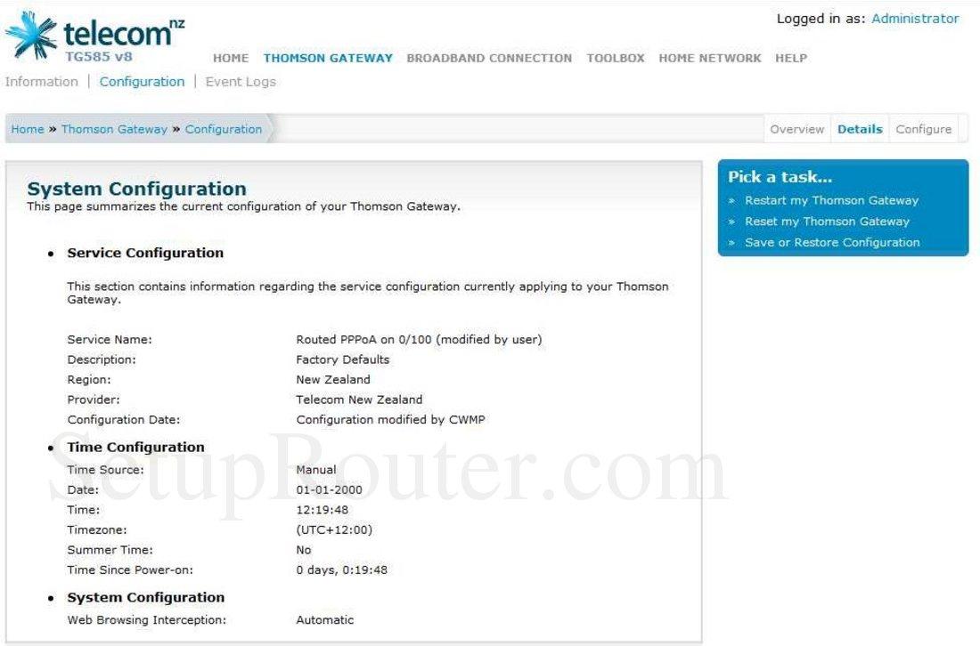 Keywords on The Thomson TG585v8 Telecom SystemConfigurationDetails  Screenshot