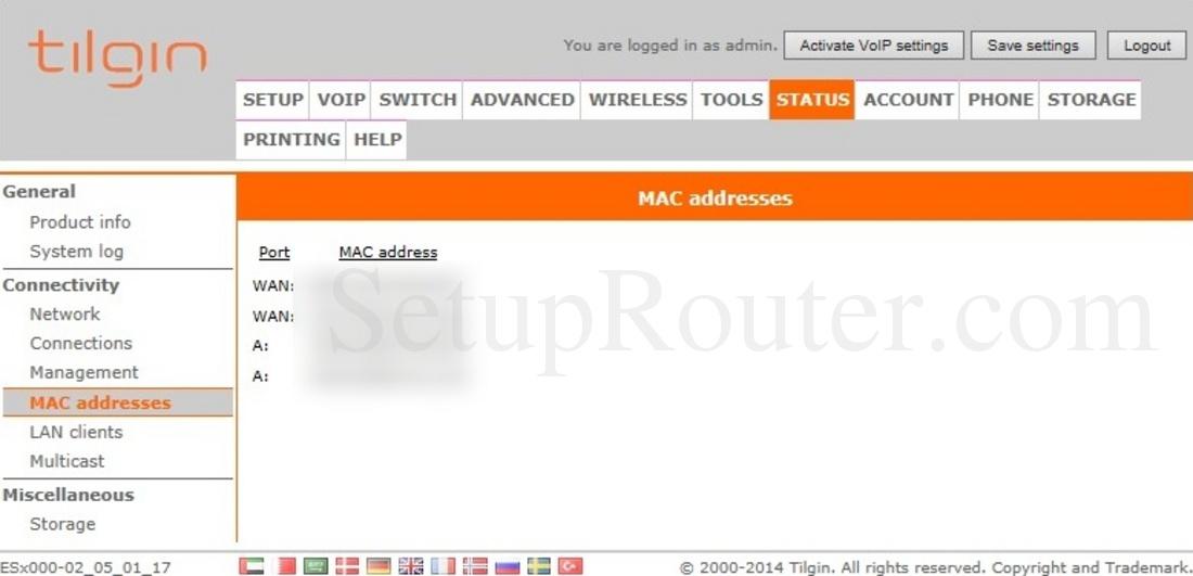 Tilgin HG2332 Screenshot MACAddressesStatus
