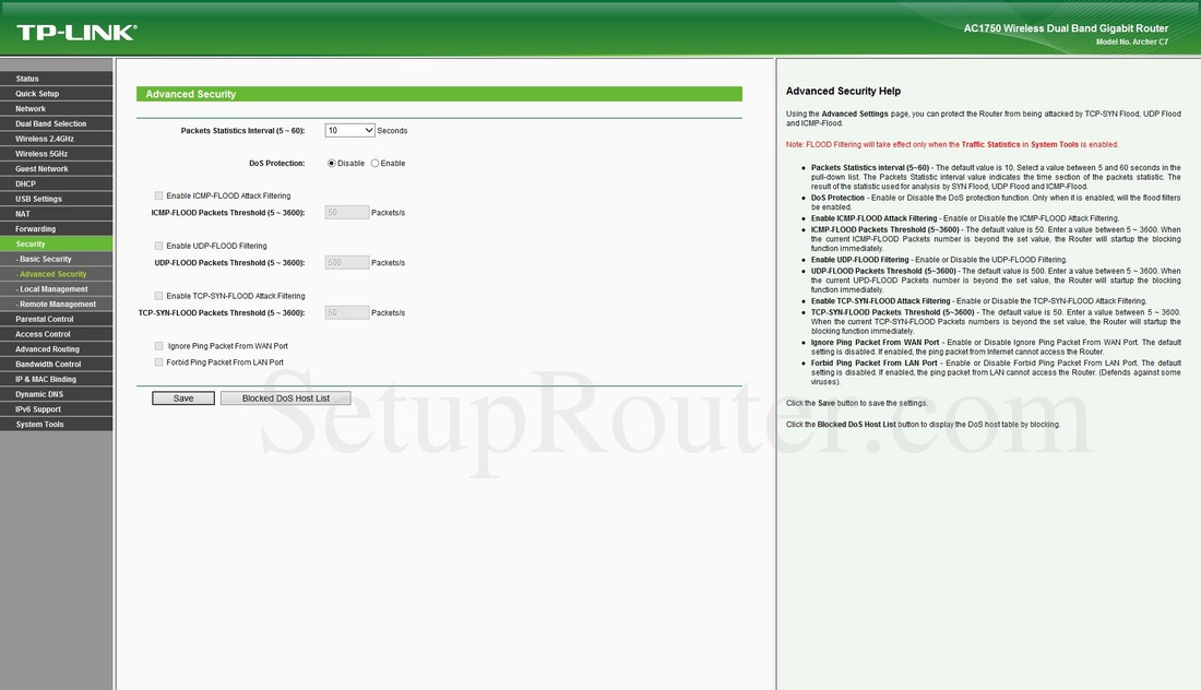 TP-Link Archer C7 Screenshot AdvancedSecurity
