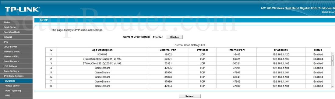 TP-Link Archer D5 Screenshot UPnP