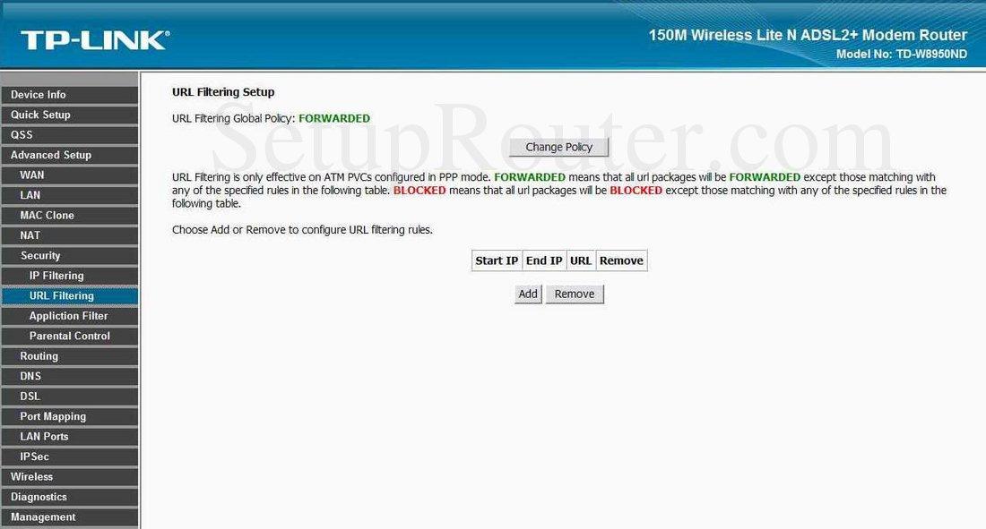 Url filter tp link