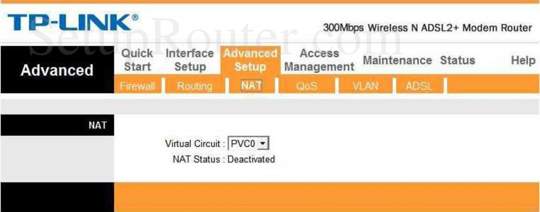 TP-Link TD-W8961NT Screenshot NAT