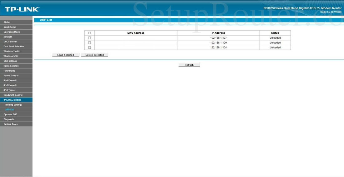 TP-Link TD-W8980 Screenshot ARP List
