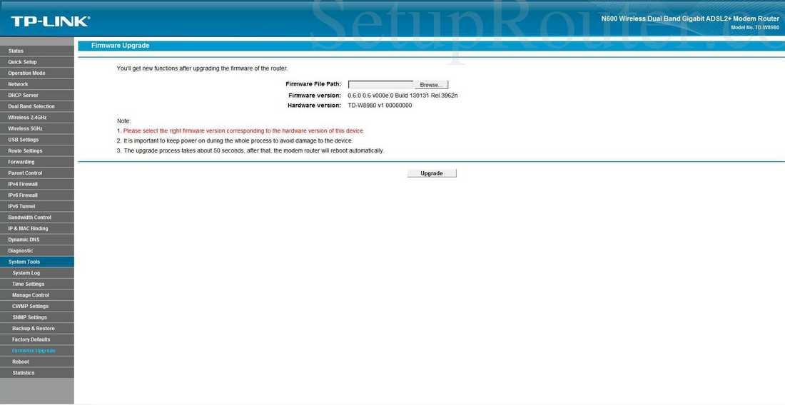 TP-Link TD-W8980 Screenshot Firmware Upgrade