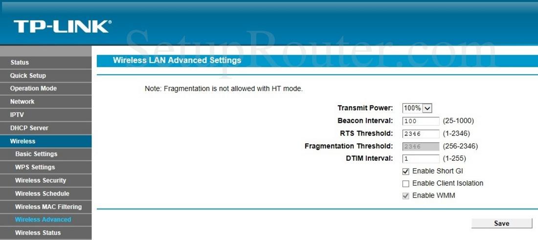 TP-Link TD-W9970 Screenshot WirelessAdvanced