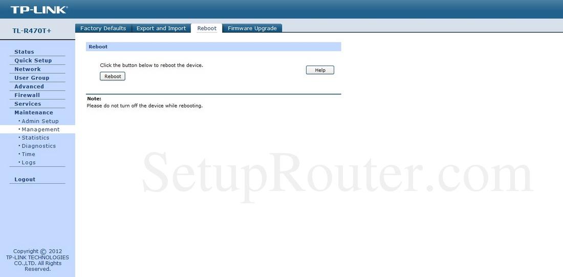 TP-Link TL-R470T Plus Screenshot Reboot
